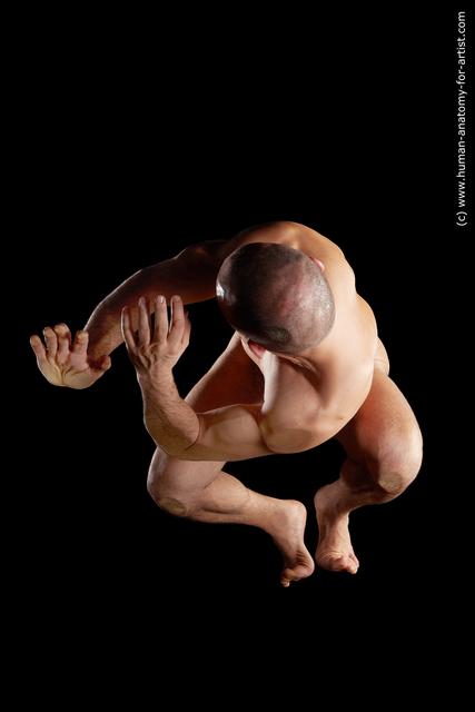Nude Man Muscular Bald Hyper angle poses