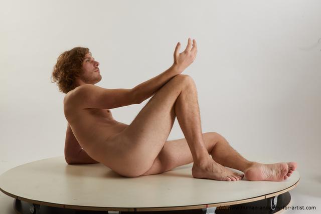 Nude Man White Slim Medium Blond Standard Photoshoot