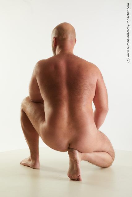 Nude Man White Bald Standard Photoshoot Chubby