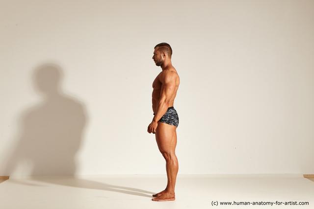 Underwear Man White Muscular Short Brown Dynamic poses