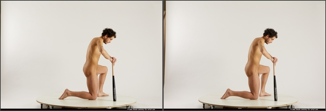 Nude Man Black Slim Short Black 3D Stereoscopic poses