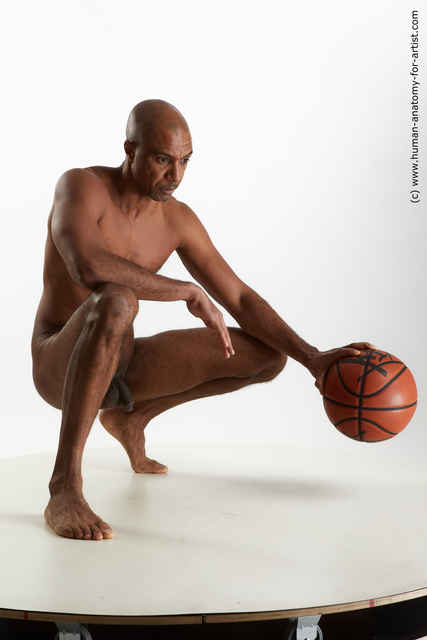 Nude Man Black Slim Bald Standard Photoshoot