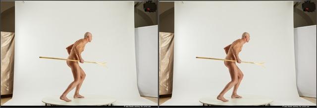 Nude Man White Slim Short Grey 3D Stereoscopic poses