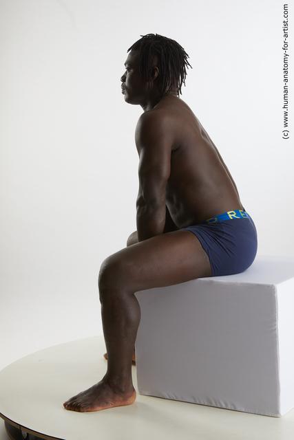 Underwear Man Black Sitting poses - simple Muscular Medium Black Sitting poses - ALL Standard Photoshoot