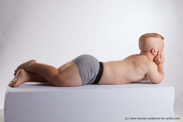 Underwear Man White Laying poses - ALL Average Short Blond Laying poses - on stomach Standard Photoshoot