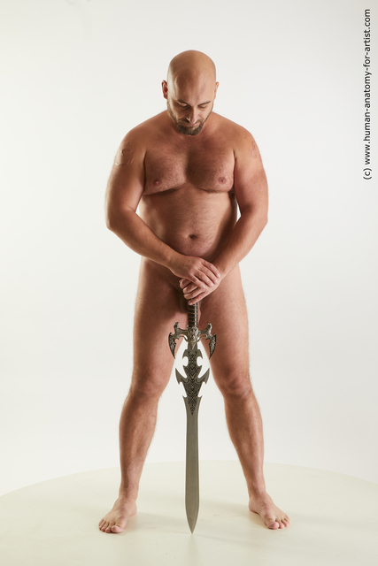 Nude Fighting with sword Man White Standing poses - ALL Chubby Bald Standing poses - simple Standard Photoshoot