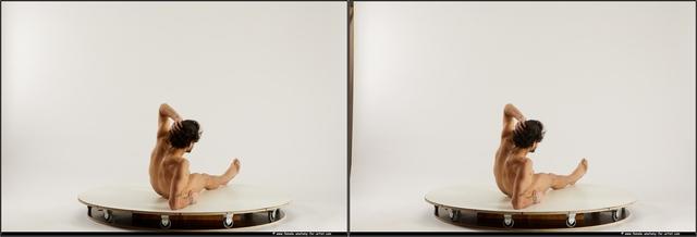 Nude Man Black Athletic Medium Black 3D Stereoscopic poses