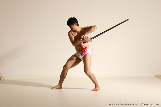 Underwear Fighting with sword Man Asian Athletic Short Black Dynamic poses