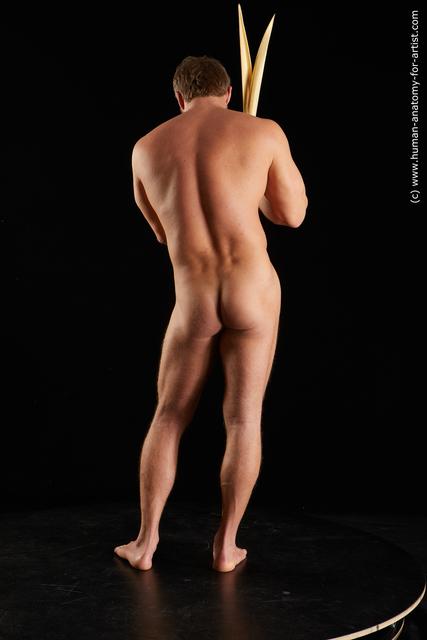 Nude Man White Muscular Short Brown Standard Photoshoot