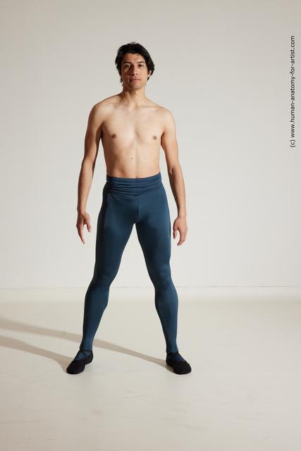 Sportswear Gymnastic poses Man White Athletic Short Brown Dancing Dynamic poses
